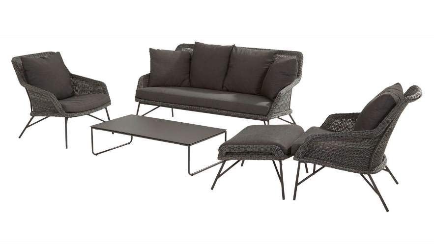 4 Seasons Samoa Footstool W/Cushions - Ecoloom Charcoal