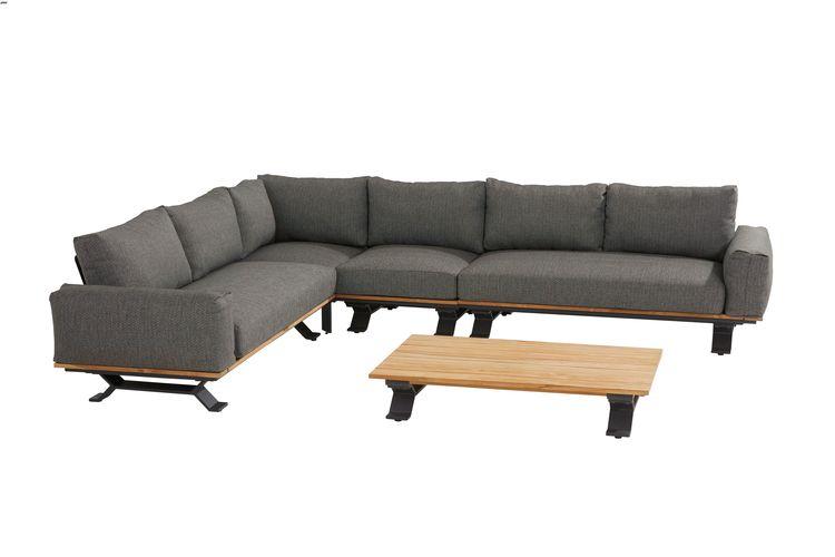 4 Seasons Divine Paltform Right/Left W/Cushions -Alum-Teak