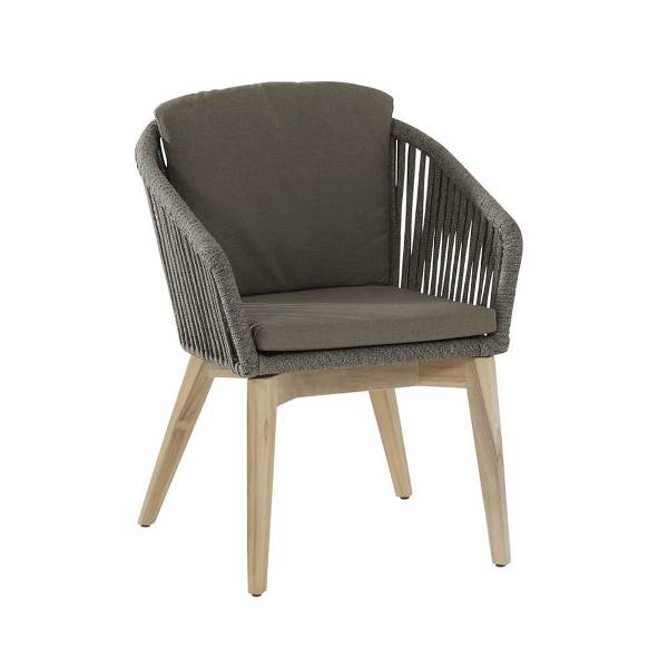 4 Seasons Santander Mid Grey Dining Chair w/Cus.- Rope/Teak