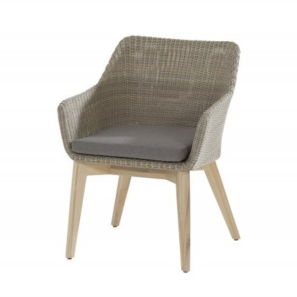 4 Seasons Avila Dining Chair Teak Legs - Polyloom Pebble