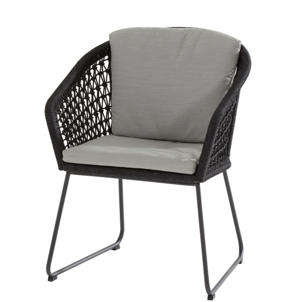 4 Seasons Mila Anthracite Chair W/Cushion - Rope