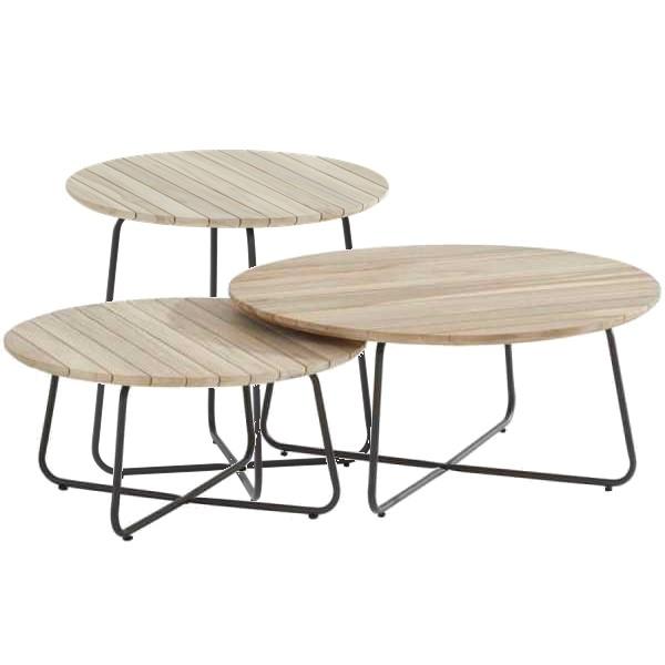 4 Seasons Axel Side Table ø45 - Alum./Teak
