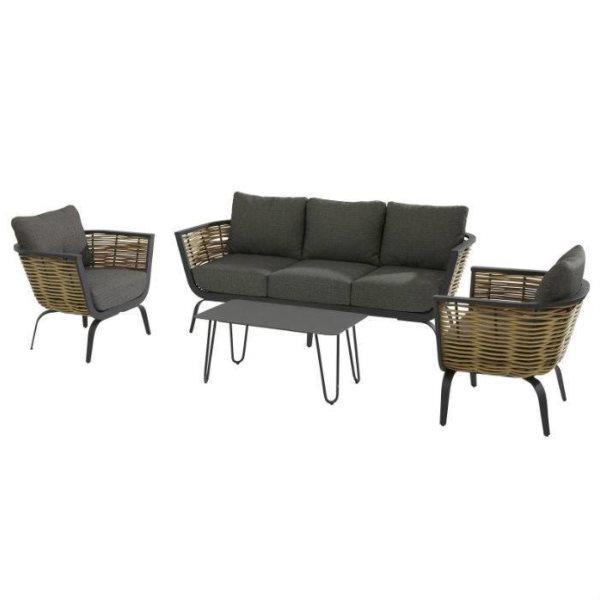 4 Seasons Antibes Sofa Set - Anthracite/Nat.