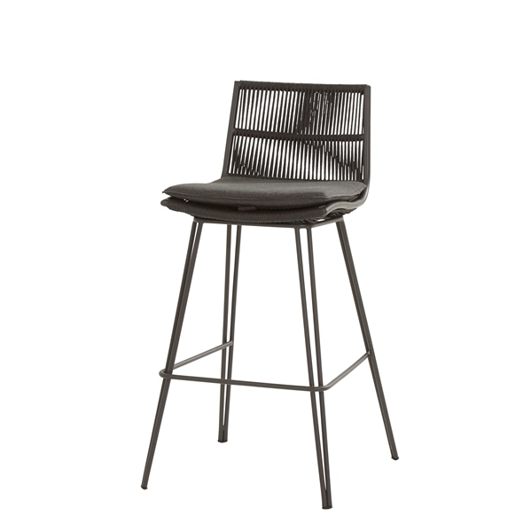 Taste Wave Bar Chair With Cushion - Antracite Rope