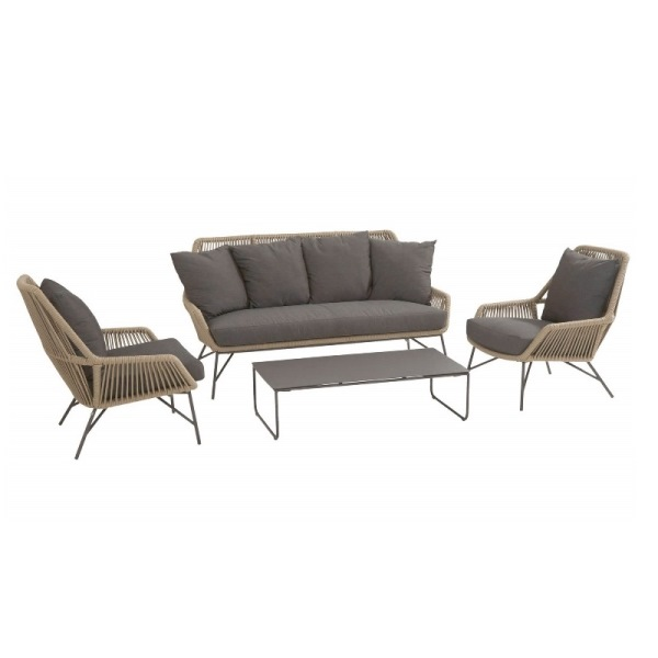 4 Seasons Ramblas Sofa Set W/Cushions - Taupe
