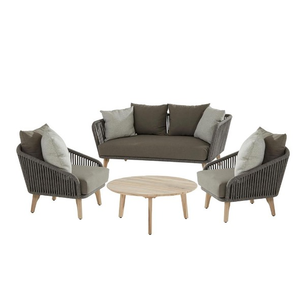 4 Seasons Santander Sofa Set - Rope/Teak