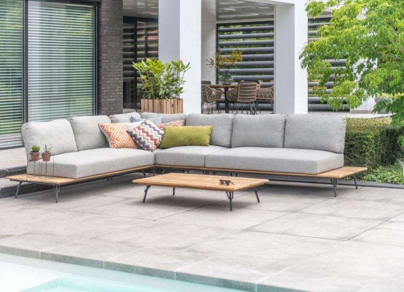 4 Seasons Cucina Modular Sofa Set w/ Pillows - Alum./Teak