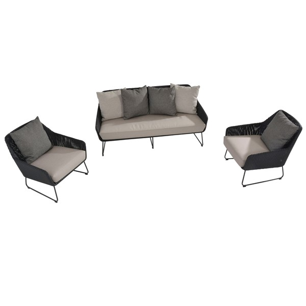 4 Seasons Avila Sofa Set w/cushions - Polyloom Antracite