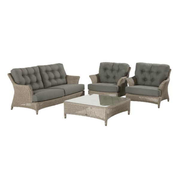 4 Seasons Valentine Sofa Set w/ Cushions - Pure