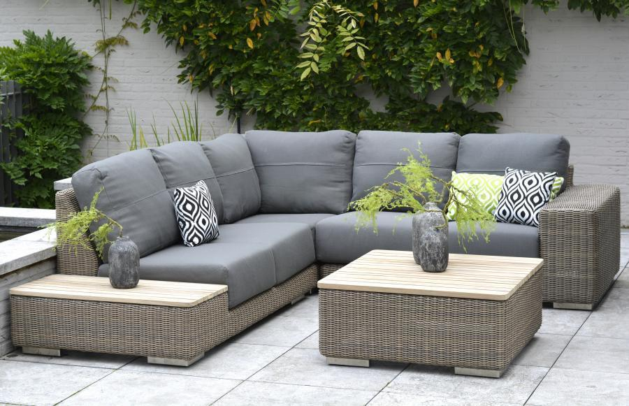4 Seasons Kingston Sofa Set w/ Cushions - Pure/Teak