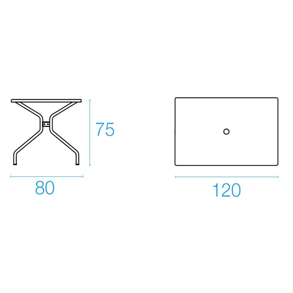 Emu Set Cambi Mesa 120x80 + 4x Rondas - Ferro Antigo