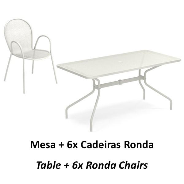 Emu Set Cambi Table 160x80 + 6x Rondas - White