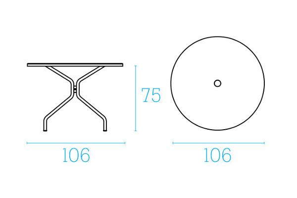 Emu Set Cambi Table ø106 + 4x Alas - Antracite