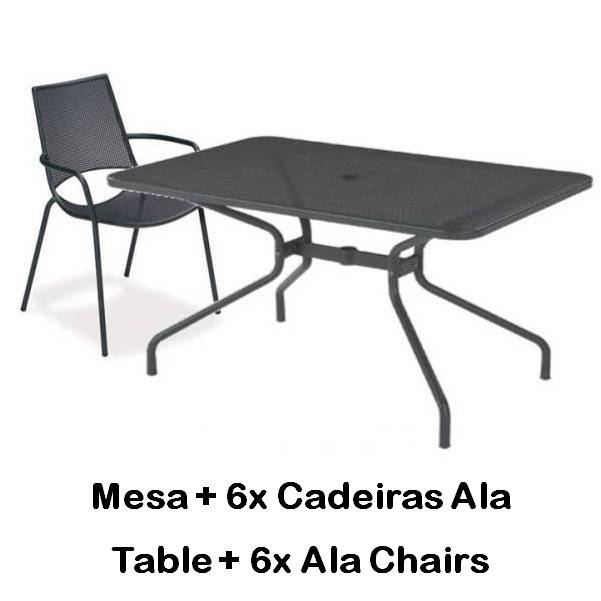 Emu Set Cambi Table 180x80 + 6x Alas - Antracite