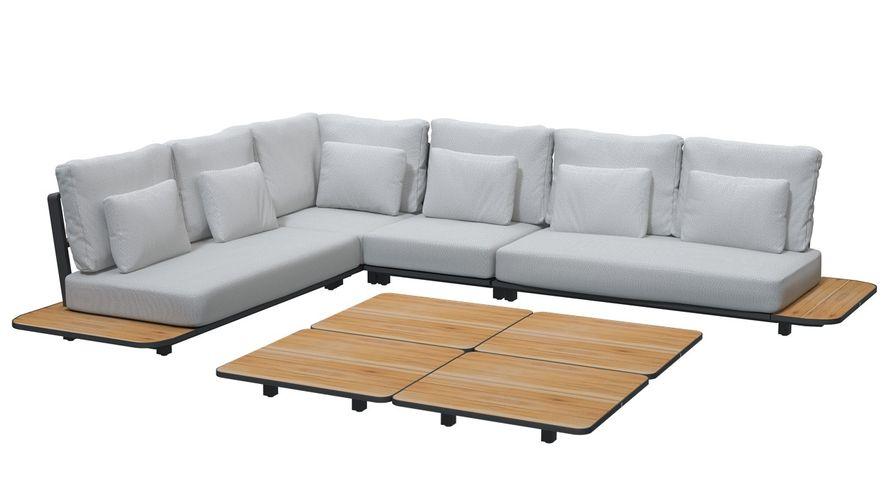 4 Seasons Arcade Coffee Table 90x90 - Aluminium/Teak