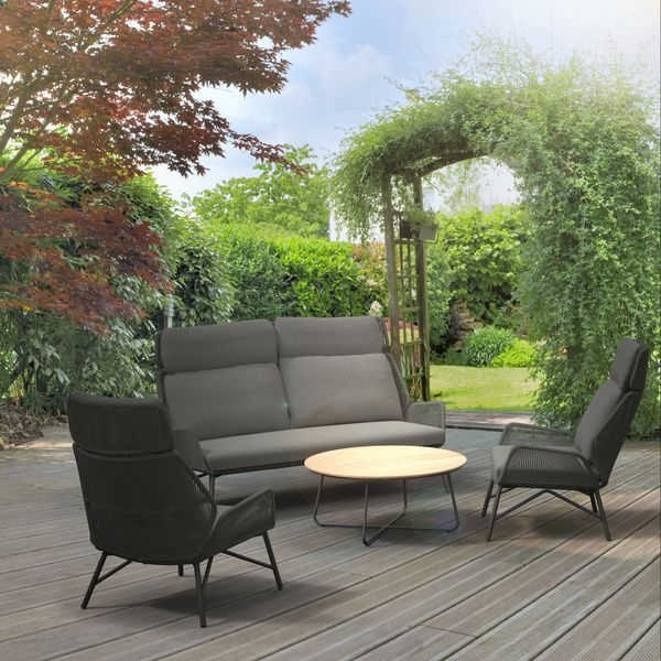 4 Seasons Carthago Footstool w/Cushion - Platinum