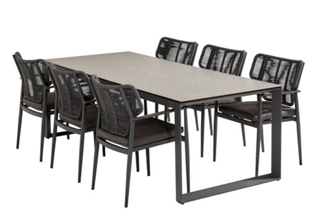 Taste Arturo Dining Chair W/Chushion Teak Arm - M.Carbon