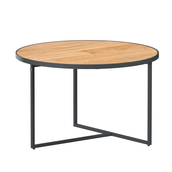 4 Seasons Strada Coffee Table ø58 - Aluminium / Teak