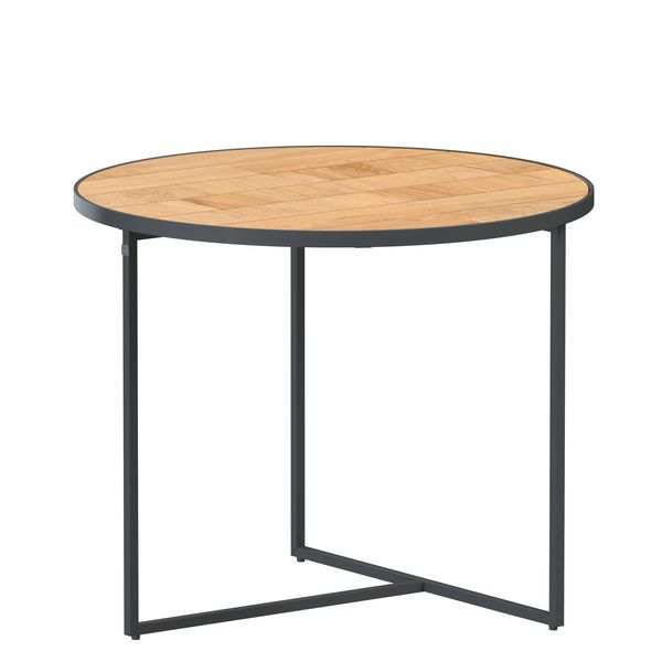 4 Seasons Strada Side Table ø55 - Aluminium / Teak
