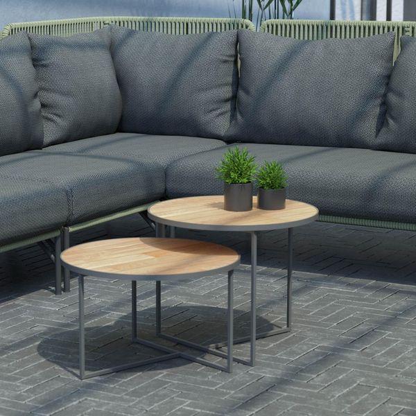 4 Seasons Strada Side Table ø55 - Aluminium / Teak