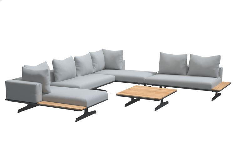 4 Seasons Endless Bench/Chaise Lounge - Anthracite/Teka