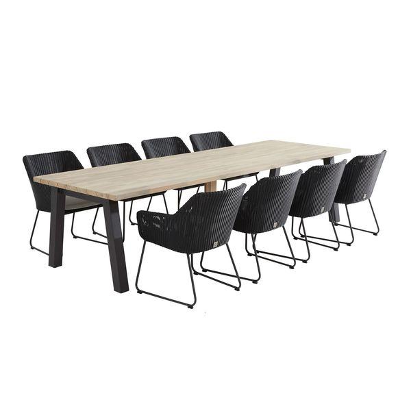 Taste Derby Teak Table 300x100 + 8x Avila Chairs