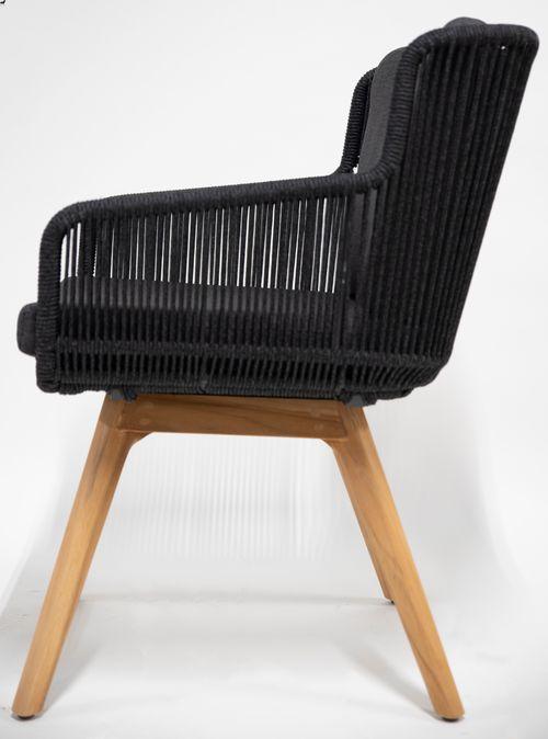 4 Seasons Flores Chair Legs Teak w/ Cush.- Antracite