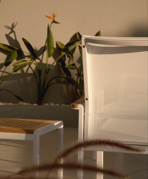Barlow Aura Side Table 50Lx45Wx40H - Teak/White