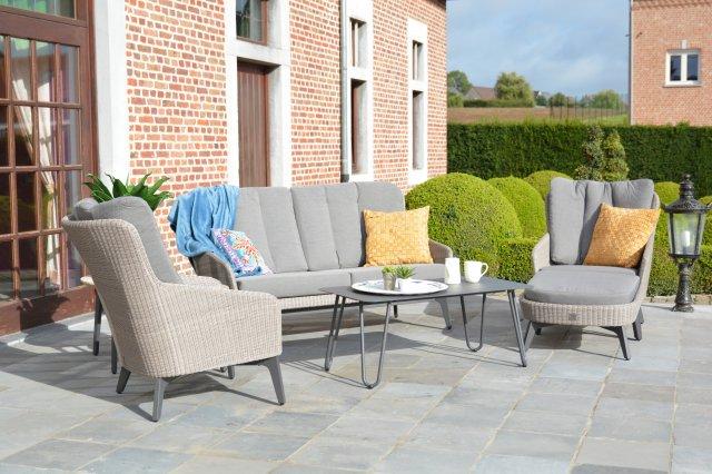 4 SO Luxor Sofa Set w/ cushions - Polyloom Pebble