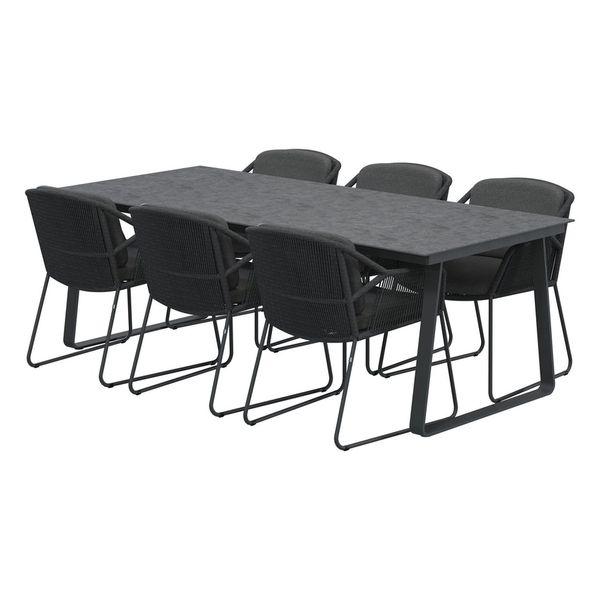 4 Seasons Konos Table 220x95 HPL Top - Lt. Grey / Antrac