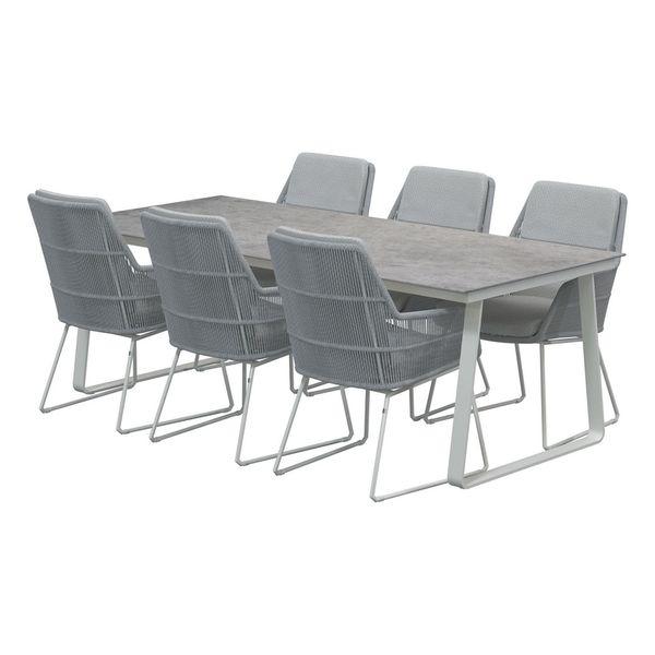 4 Seasons Konos Table 220x95 Ceramic Top - Lt. Grey / Frost