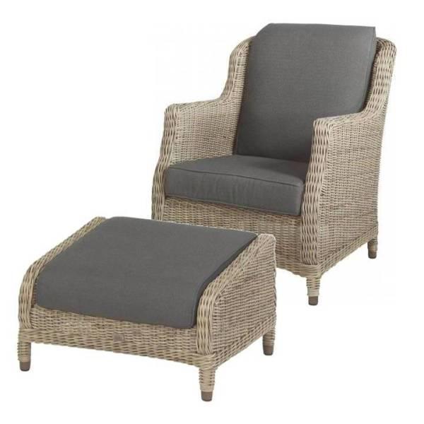 4 Seasons Brighton Footstool w/cushion - Pure