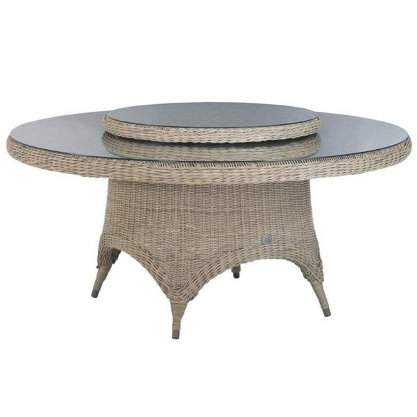 4 Seasons Victoria Table 170cm Round w/ Glass - Pure