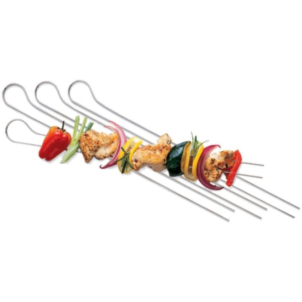 Weber Set of 8 Nickel Double prong skewers