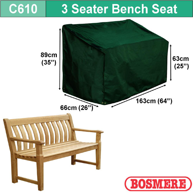 Bosmere Cover 3 seater Bench (163wx89Hx63D)