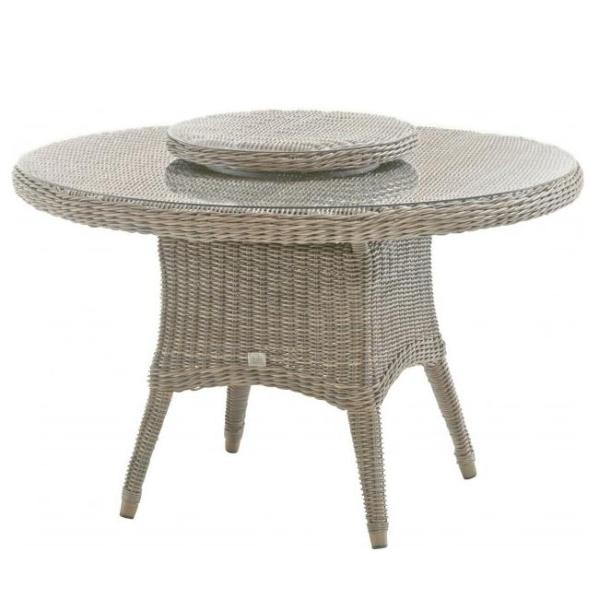 4 Seasons Victoria Table  130cm Round  w/ Glass - Pure