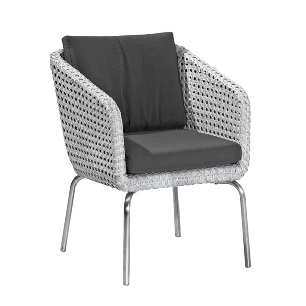 4 Seasons Luton Dining  Chair w/2 cushions - Pearl